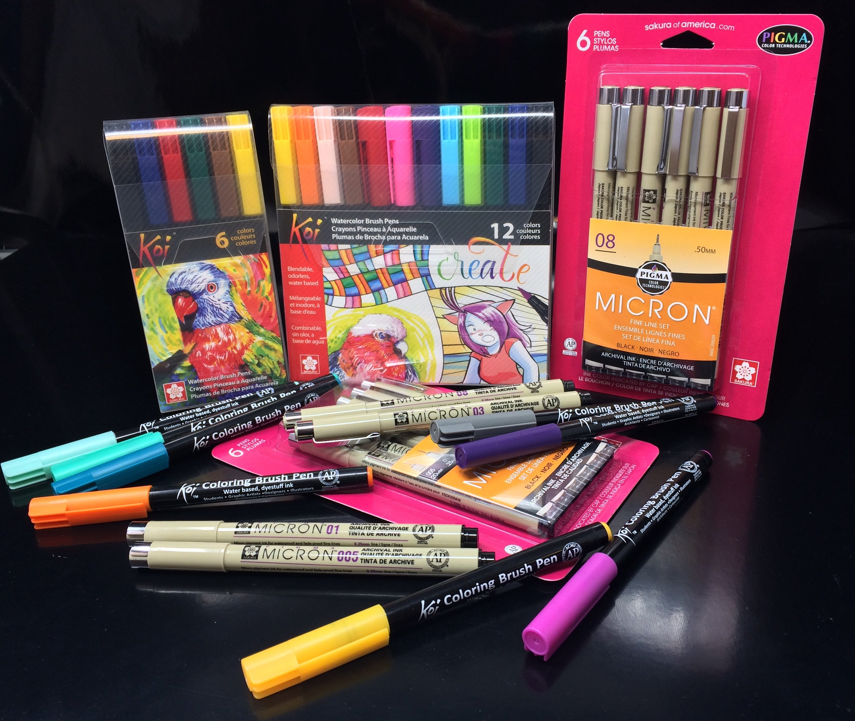 Spray Planet Review: Sakura KOI Coloring Brush Pens and PIGMA Micron Markers