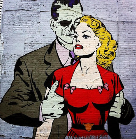 D-Face Love Her Hate Him Graffiti Street Art Mural