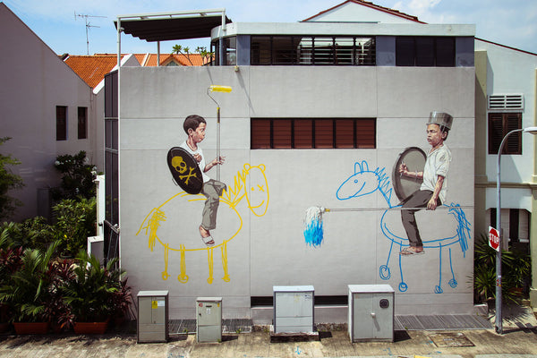 Edward Zacharevic - Singapore Mural Installation