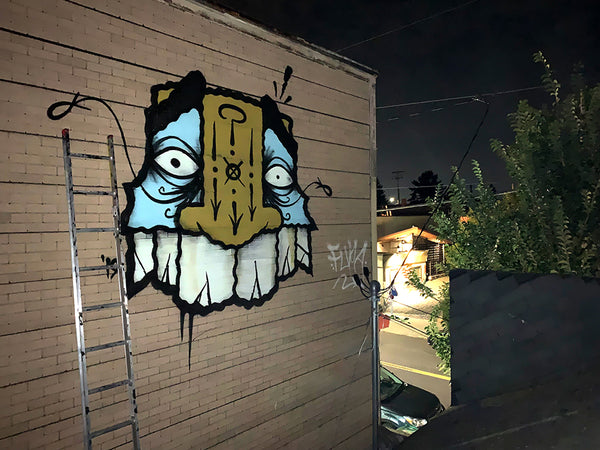 GATS Floating Totem Mask graffiti piece in Portland Oregon