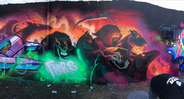 Harry Bones x FOURS Mural in Miami for Art Basel