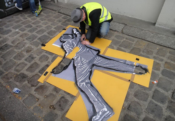 Nick Walker Street Artist Working with Stencil