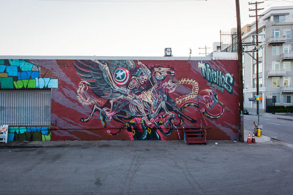 LA Downtown Arts District Murals - Nychos Mural at the Container Yard