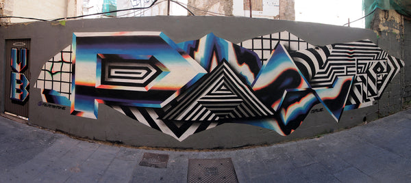 Felipe Pantone graffiti piece via fisheye lense