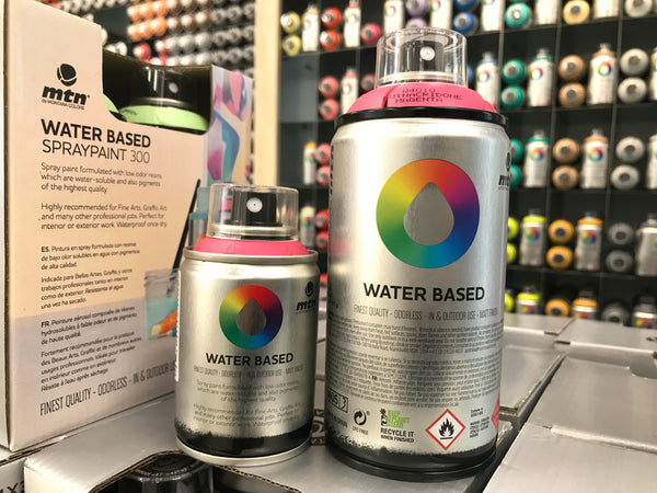 Montana Colors Water Base Spray Paint Cans in 100ml and 300ml sizes