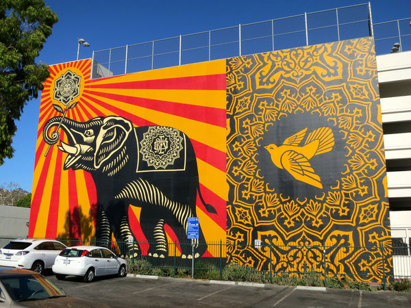 West Hollywood Murals - Shepard Fairey - West Hollywood Library Garage