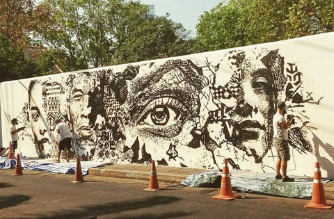 Vhils street art relief sculpture in progress