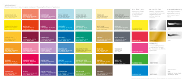 Montana Colors Water-Based Spray Paint color chart - 52 Water Based spray paint colors