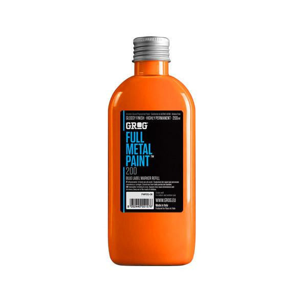 Grog Full Metal Paint Refill - 200ml - Neon Orange