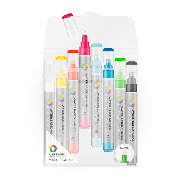 MTN Water Based Markers 3m Mixed Color Fine 8 Pack | Spray Planet