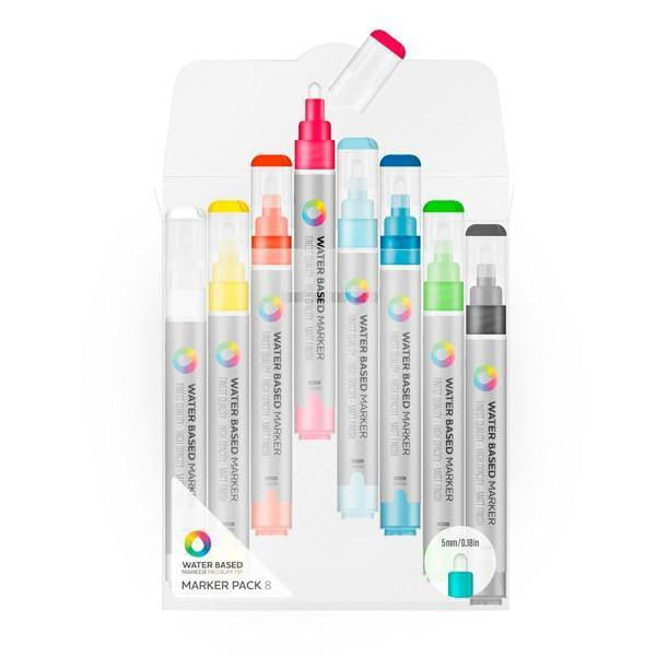 Montana Colors MTN Water Based Paint Marker Pack - 5m Mixed Color Medium 8 Pack