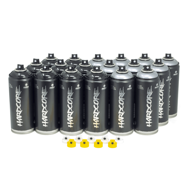 MTN Hardcore Black & Silver Throwie 18 Combo Pack | Spray Planet