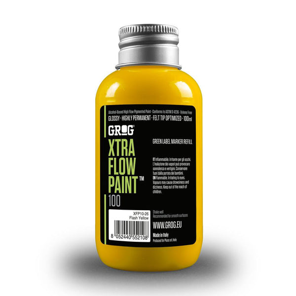 Grog Xtra Flow 100ml Paint Refill - Flash Yellow | Spray Planet