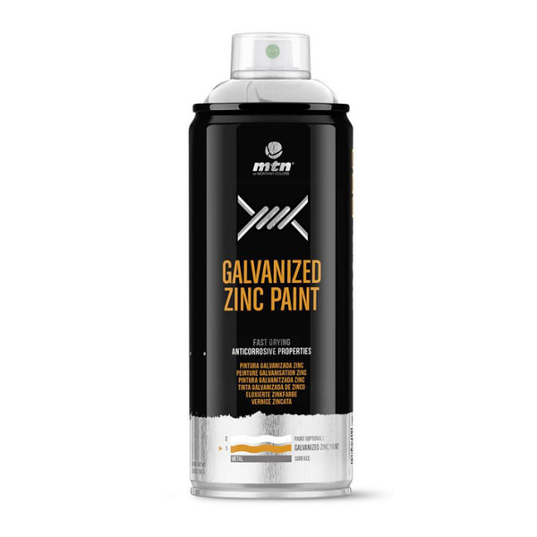 MTN PRO Galvanized Zinc Spray Paint - Cold Galvanized, Matte Zinc 98% | Spray Planet