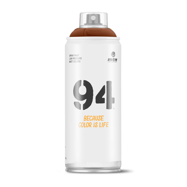 MTN 94 Spray Paint - 9RV99 - Glace Brown is a low-pressure matte finish coversall spray paint designed to give artists, craftsmen, and DIY'ers the ultimate control. These versatile spray cans carried by Spray Planet with over 200+ colors allow graffiti artists to achieve precise finish and effects with ease. Montana Colors MTN 94 9RV99 - Glace Brown is an opaque full middle to dark reddish brown hue.  Hex: #7A3D24