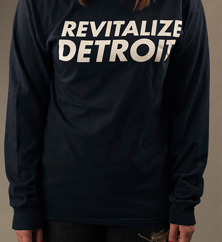 Revitalize Detroit Long Sleeve Tee - Black/White
