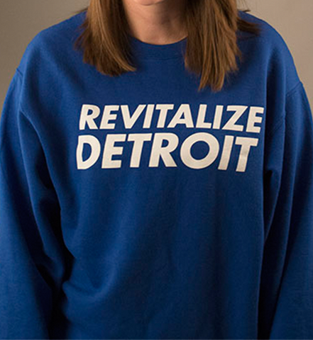 Revitalize Detroit Crewneck Sweatshirt - Royal/White