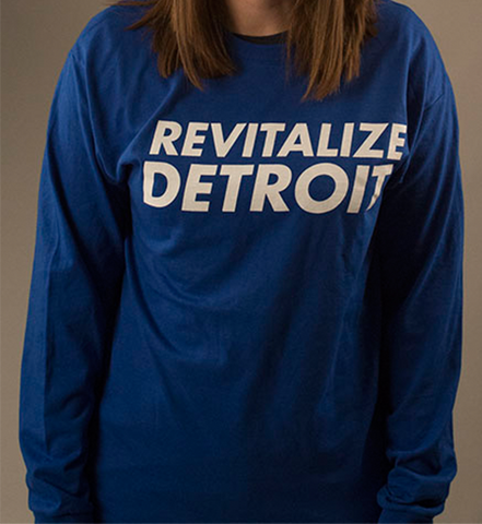 Revitalize Detroit Long Sleeve Tee - Royal/White