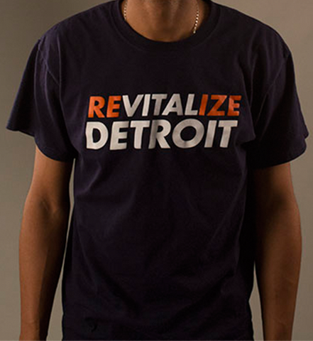 "Revitalize Detroit Tee - Navy ""Eat Em Up"""