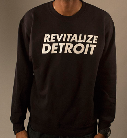 Revitalize Detroit Crewneck Sweatshirt - Black/White