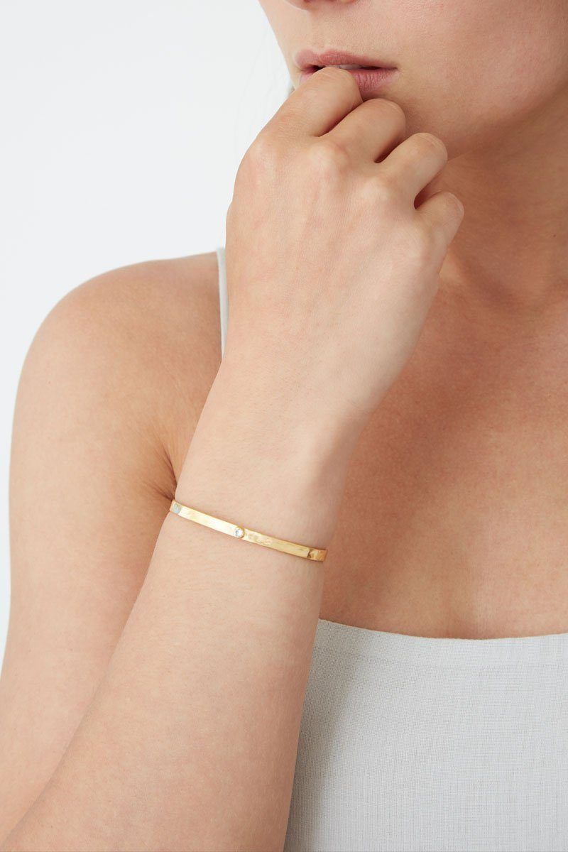 Chan Luu Gold Birthstone Cuff in Crystal