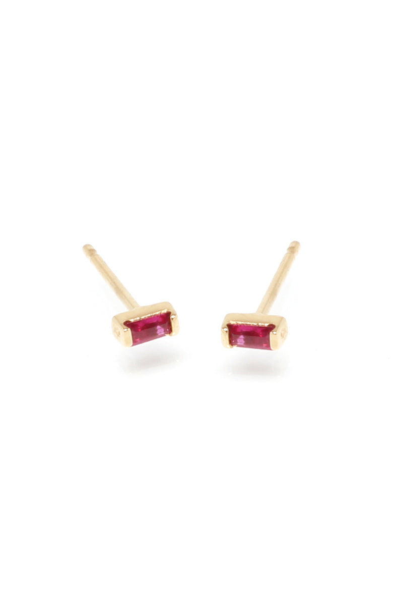 Zoe Chicco 14K Gold Tiny Ruby Baguette Studs