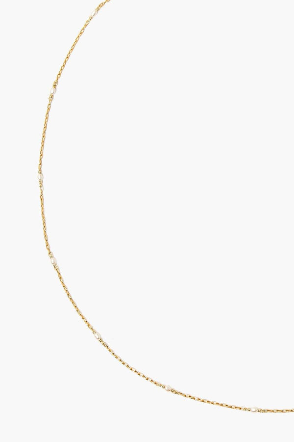 Chan Luu White Pearl and Gold Mask Chain