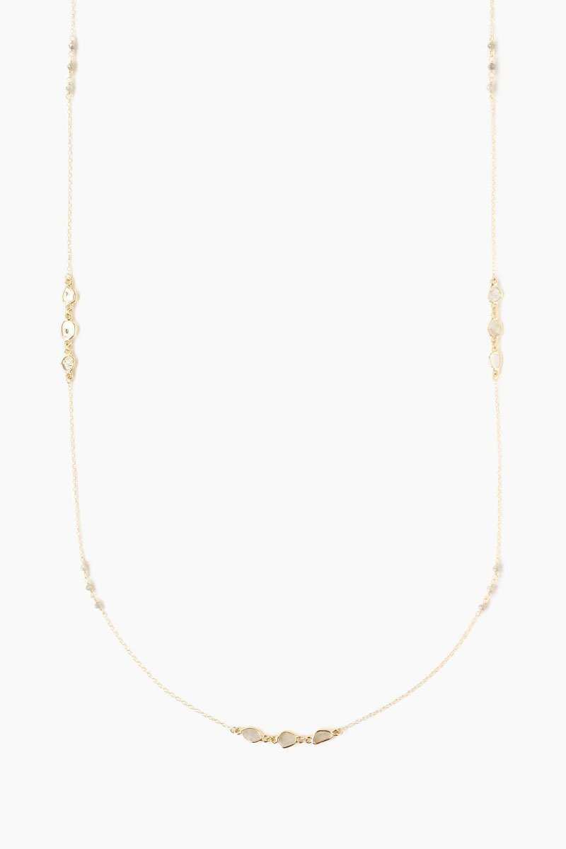 Chan Luu Sliced Champagne Diamond And Rondelle Long Layering Necklace