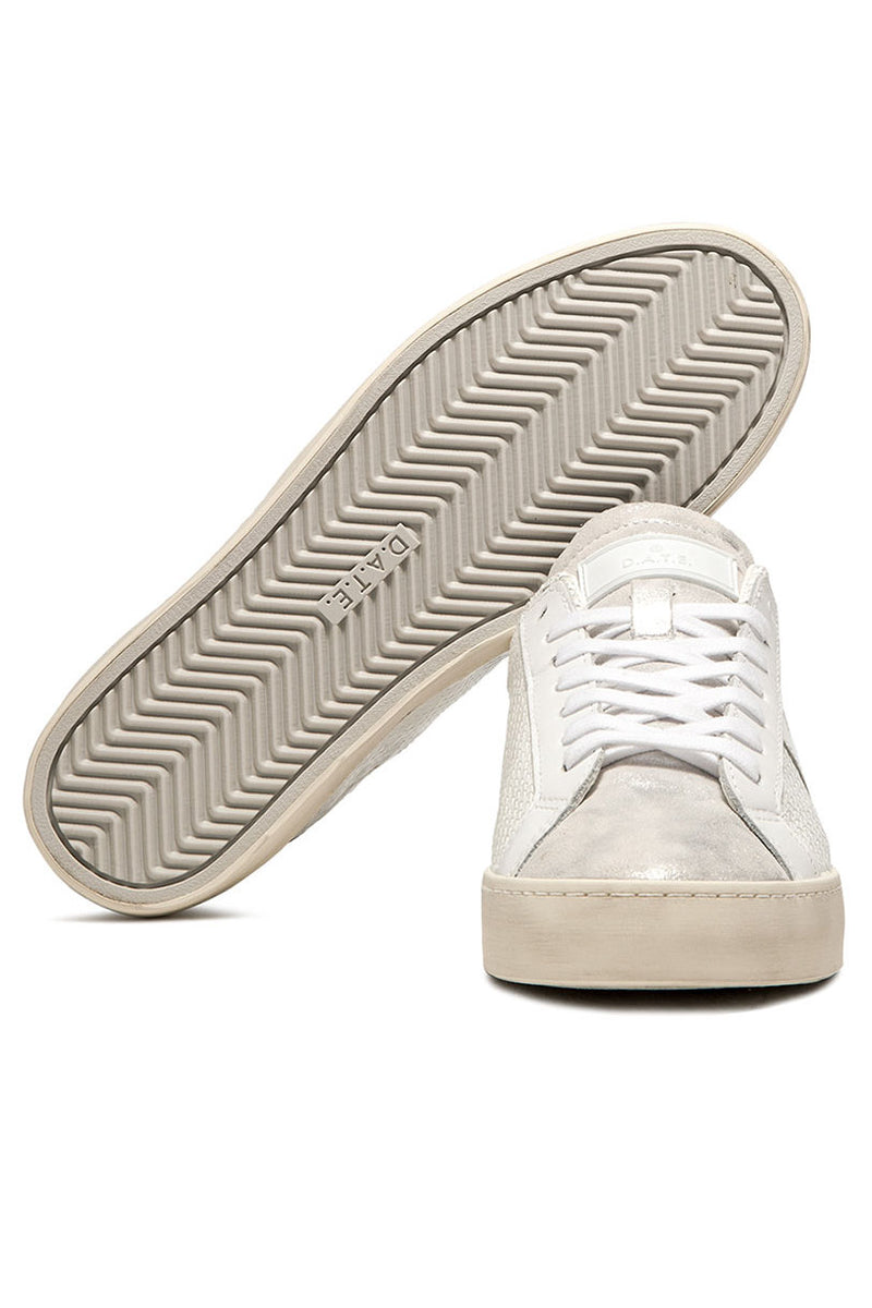 D.A.T.E. Patent Leather Low Top Sneakers in White