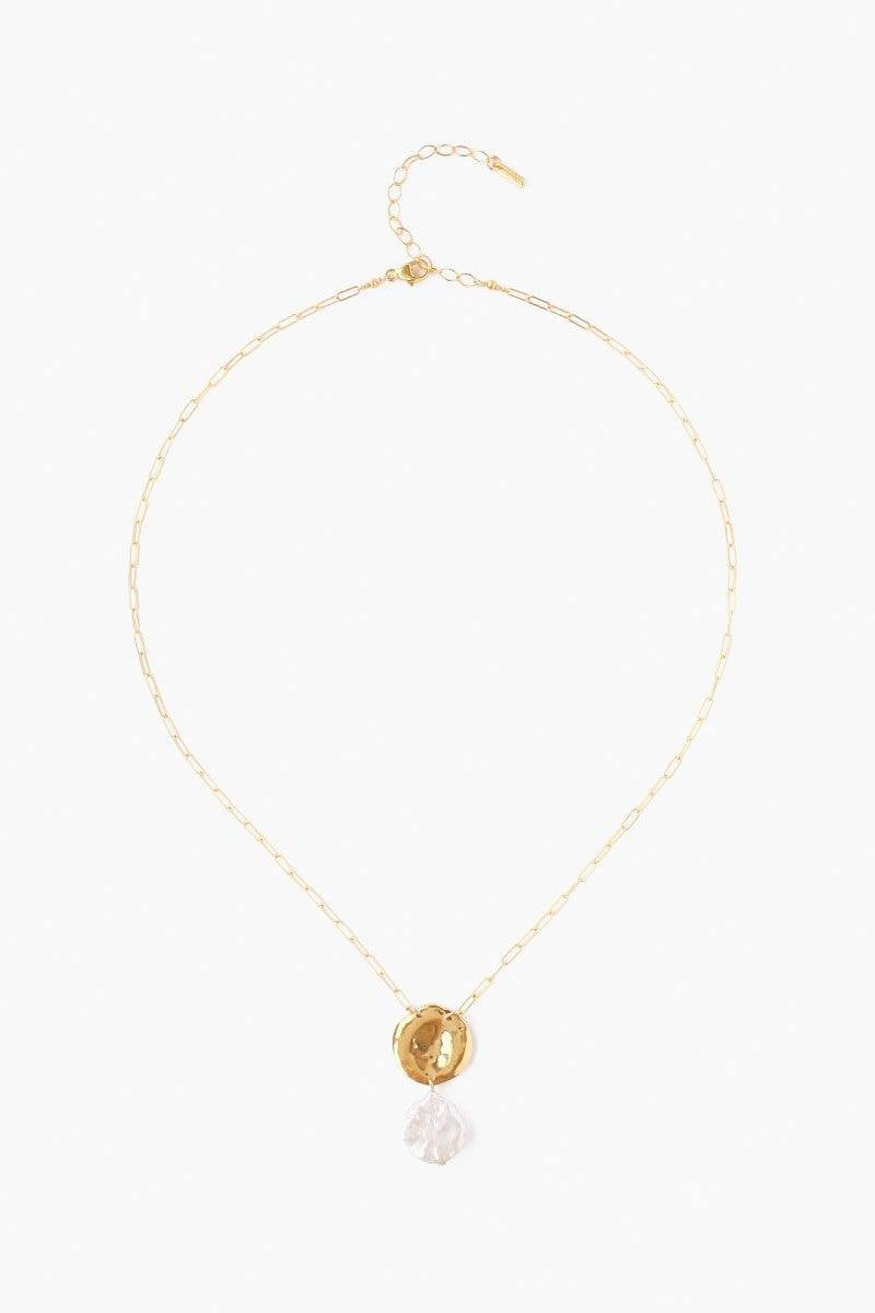 Chan Luu White Pearl Short Necklace in Gold