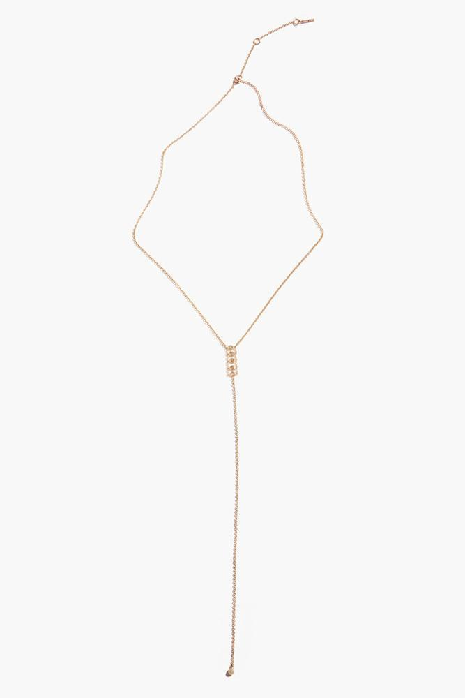Chan Luu Champagne Diamond Lariat Necklace in Gold