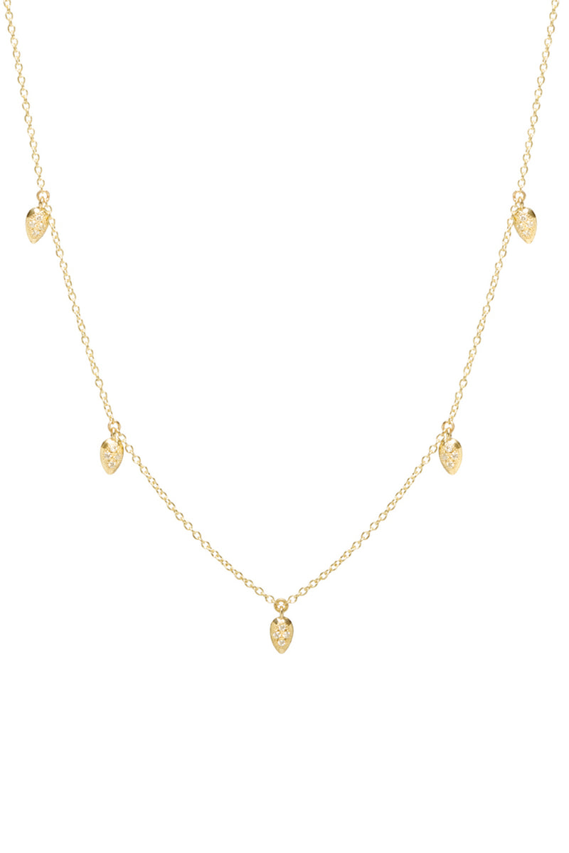 Zoe Chicco 14K Gold Choker Necklace with 5 Tiny Diamond Teardrops