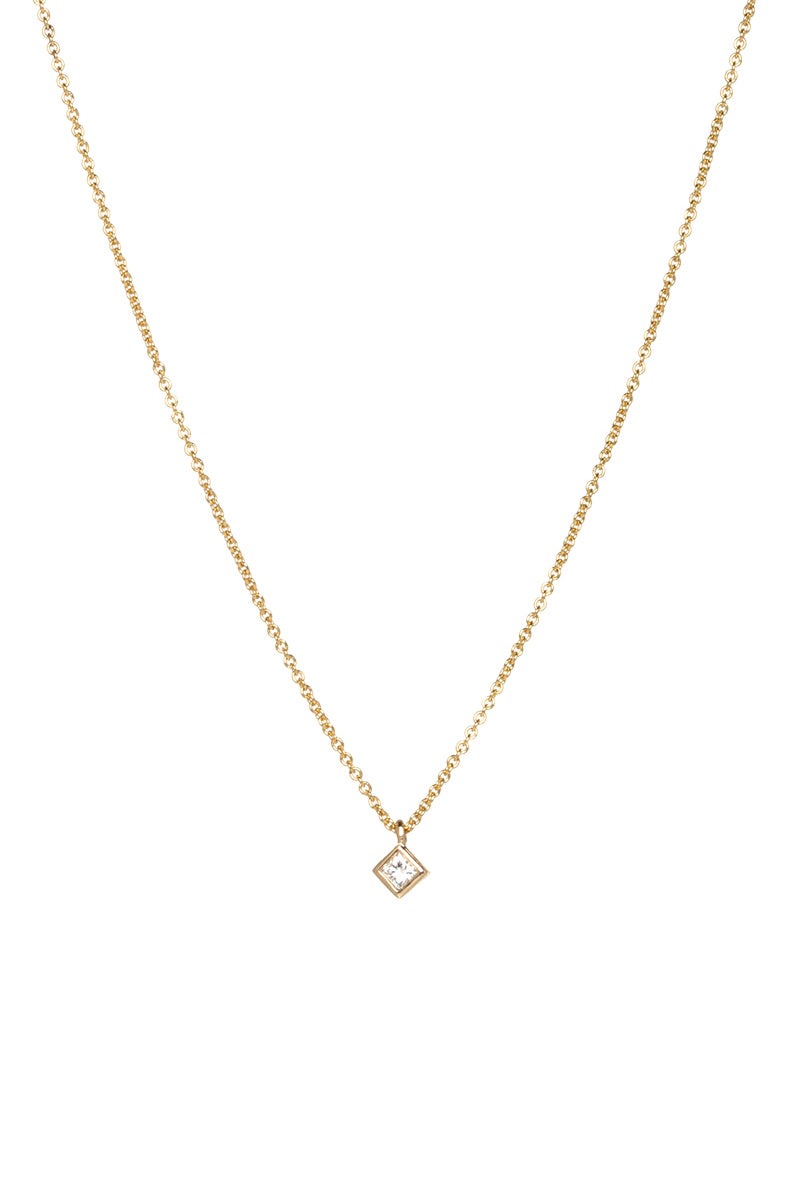 Zoe ChIcco 14K Gold Tiny Diamond Shaped Princess Diamond Necklacce