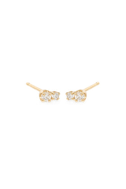 Zoe Chicco 14K Gold Mixed Diamond Studs
