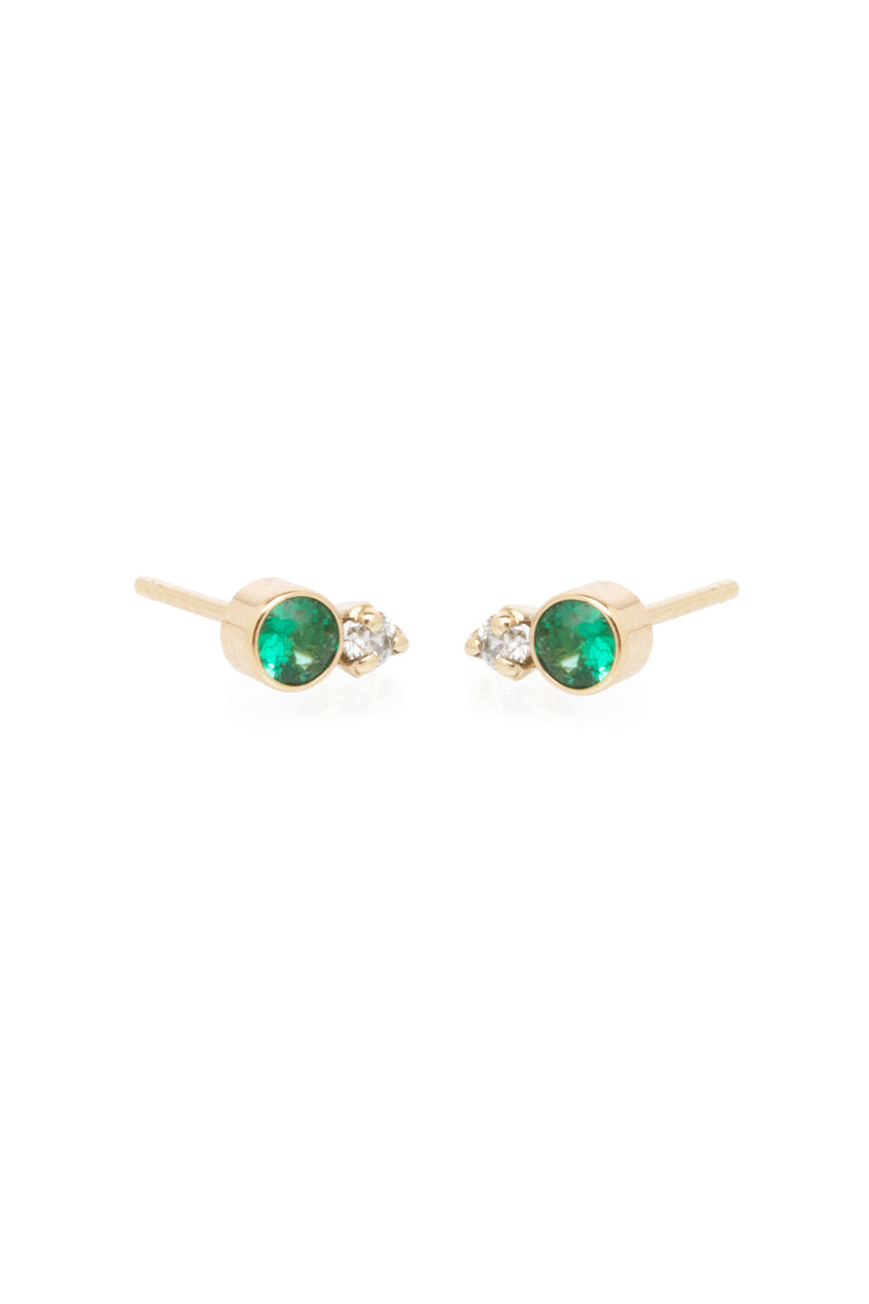 Zoe Chicco 14K Mixed Emerald and Diamond Prong Studs