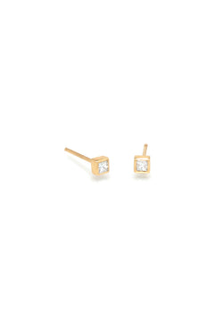 Zoe Chicco 14K Gold Princess Diamond Stud Earrings