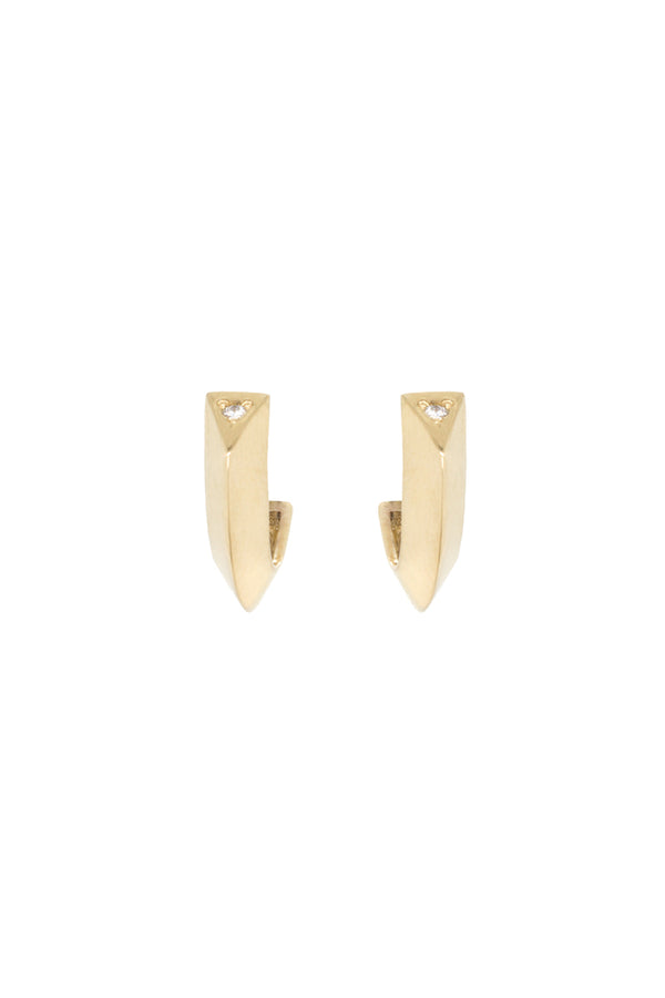 Zoe Chicco 14K Gold Knife Edge Hoops with Diamond