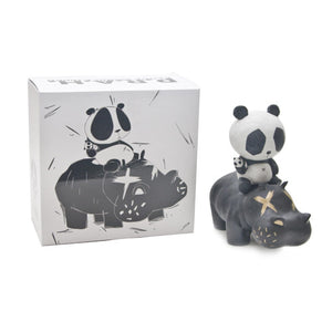 Panda Riding A Hippo Vinyl  Art Figure