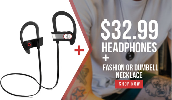 Headphones + Fashion Bracelet or Dumbbell Necklace