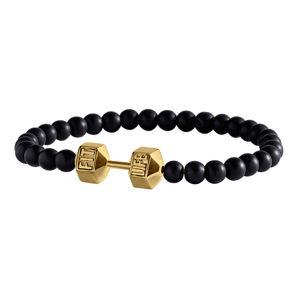 Black and Gold Dumbbell Bracelet