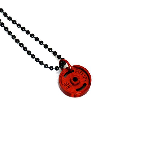 Red Micro Weight Plate Necklace