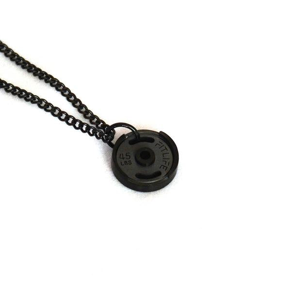 Black Micro Weight Plate Necklace