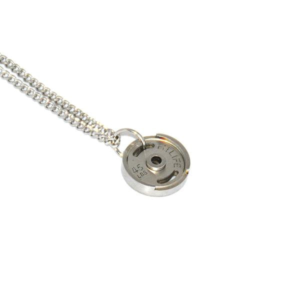 Silver Micro Weight Plate Necklace