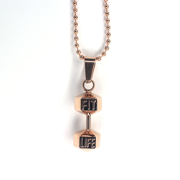 Rose Gold Dumbbell Necklace