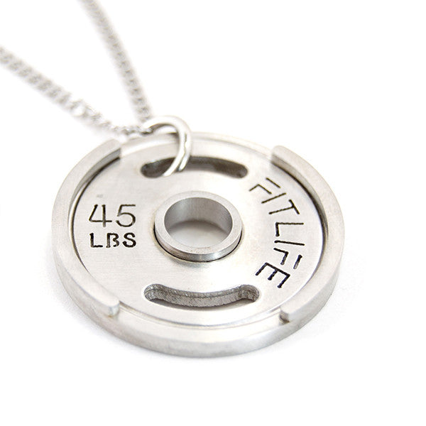 Silver Weight Plate Necklace