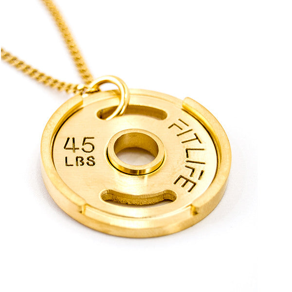 Gold Weight Plate Necklace