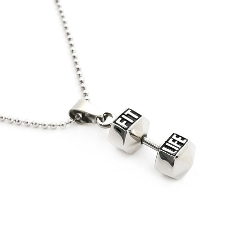 large dumbbell silver sterling necklace