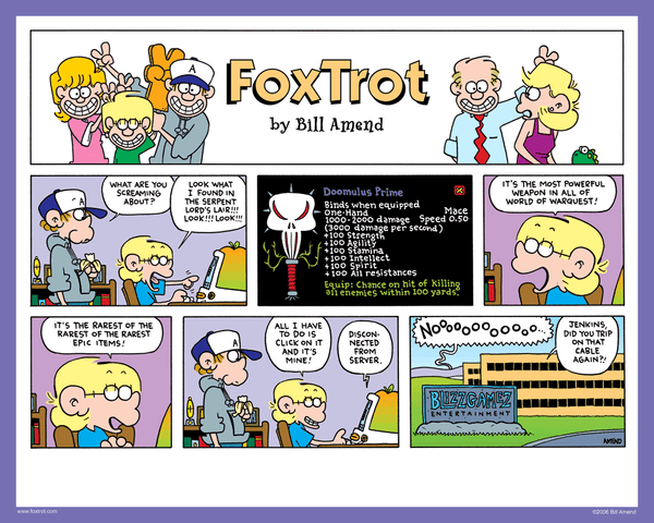 Signed FoxTrot Print - 'Doomulus Prime' by Bill Amend - 8x10 inch cartoon print hand signed by Bill Amend. Printed on premium card stock ideal for displaying as-is or in a frame. - cartoon, comics, computer games, funny, sunday funnies, gaming, jason fox, peter, world of warcraft, warquest