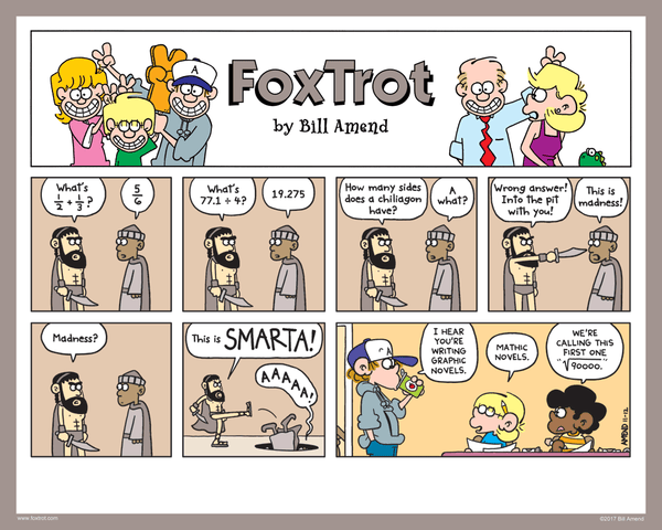 Signed FoxTrot Print - Smarta by Bill Amend - 8x10 inch cartoon print hand signed by Bill Amend. Printed on premium card stock ideal for displaying as-is or in a frame. A great gift for math fans! - 300, cartoons, comic strip, comics, funny, jason fox, marcus, math, movies, peter, sunday funnies
