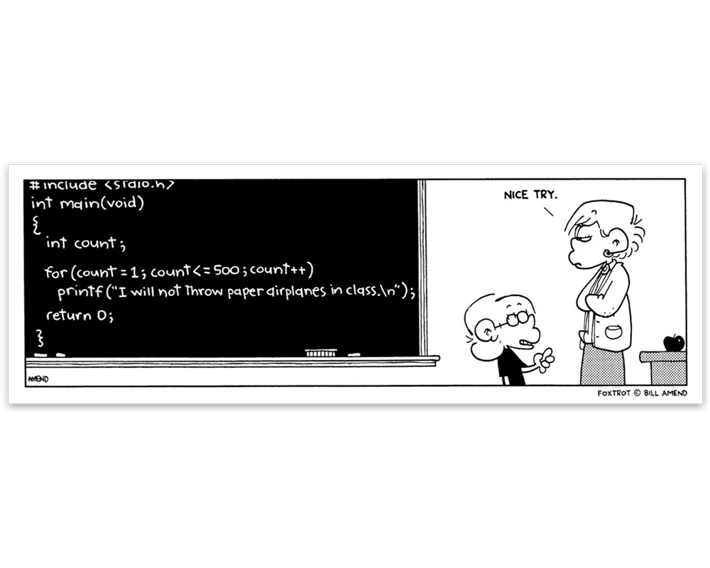 FoxTrot Magnet - 'Chalkboard Code' Comic Strip by Bill Amend